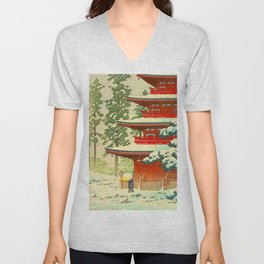 Vintage Japanese Woodblock Print Japanese Shinto Shrine Red Pagoda With Snow Capped Trees Unisex V-Neck