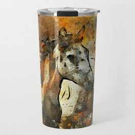 Watercolor Galloping Horses On Raw Canvas | Splatter Painting Travel Mug