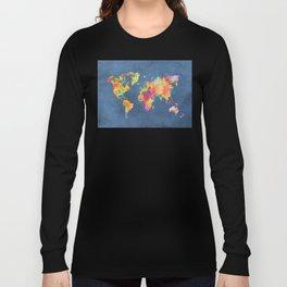world map blue 2061 #map #worldmap Long Sleeve T-shirt