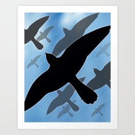 Flock over Blue Sky Art Print