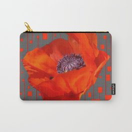 """""""Poppy Fire"""" Charcoal Grey Pattern Carry-All Pouch"""
