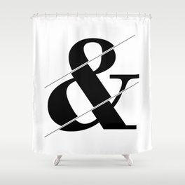 """""""Sliced Collection"""" - Minimal Ampersand Sign Print Shower Curtain"""