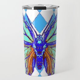 ABSTRACTED BLUE MONARCH BUTTERFLY PATTERN Travel Mug
