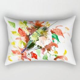 Little Hummingbird and Red Flowers Rectangular Pillow