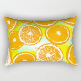 juicy orange pattern abstract with yellow and green background Rectangular Pillow