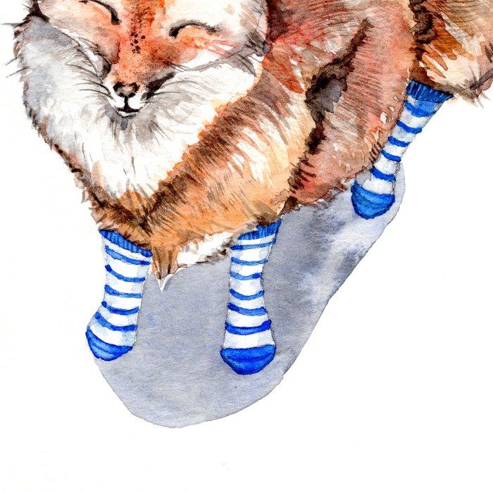Smiling Red Fox in Blue Socks Leggings