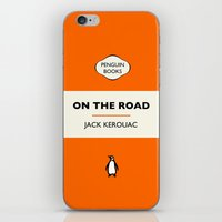 kerouac iPhone & iPod Skins featuring Penguin Book / On The Road - Jack Kerouac  by FunnyFaceArt
