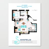 seinfeld Canvas Prints featuring Jerry Seinfeld Apartment v2 by nikneuk