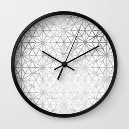 Modern silver stars geometric pattern Christmas white marble Wall Clock