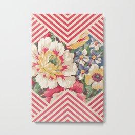 Floral Chevron Metal Print