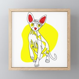 One Line Cat - Sphynx Framed Mini Art Print
