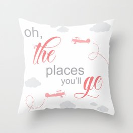 OH THE PLACES YOU'LL GO - AIRPLANE PINK AND GREY Throw Pillow
