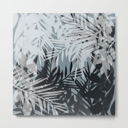 Gray Leaves pattern . Metal Print
