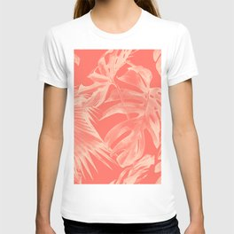 Living Coral Tropical Palm Leaves Monstera T-shirt