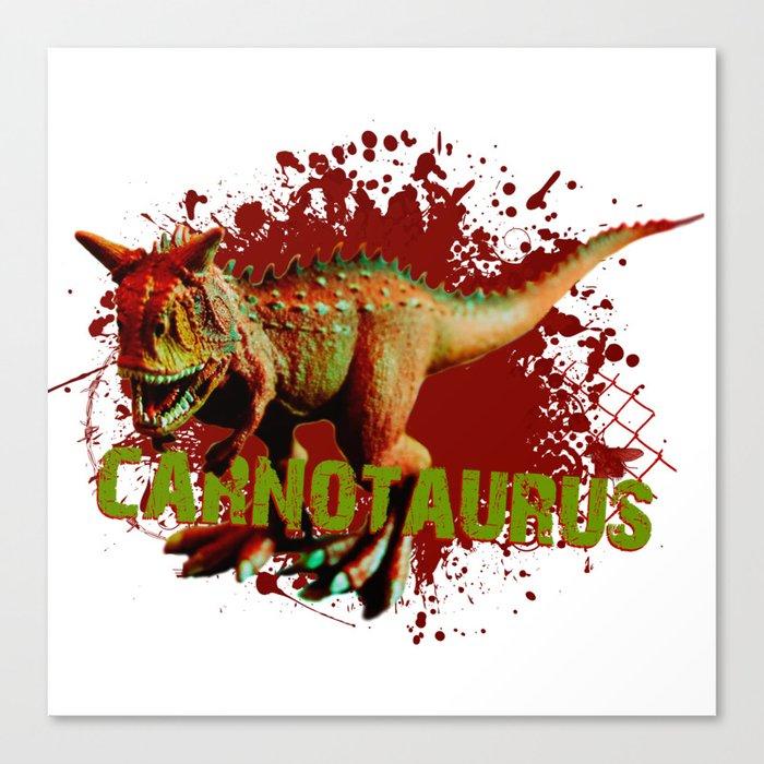 Bad Carnotaurus Splashing Blood Green and Red Canvas Print