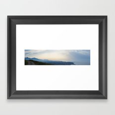 Panoramic. Sunset over the ocean and mountains Framed Art Print