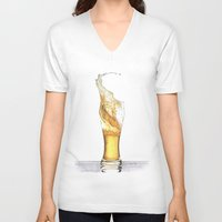 beer V-neck T-shirts featuring Beer by Giorgio Arcuri