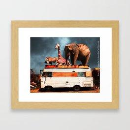 Barnum and Baileys Fabulous Road Trip Vacation Across The USA Circa 2013 5D22705 with text Framed Art Print