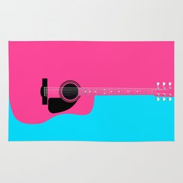Pink Acoustic Guitar Background Rug