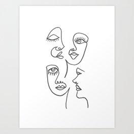 Line Art Faces Art Print