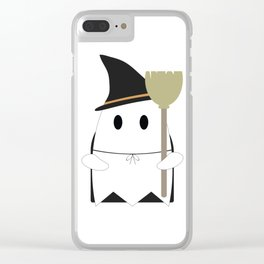 Ghost in Witch Costume Clear iPhone Case