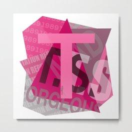 """Pink Colored """"T"""" Design Metal Print"""