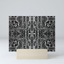 Black and White Tribal Geometric Pattern Print Mini Art Print