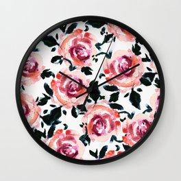 Coming up roses- pink Wall Clock