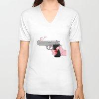 comics V-neck T-shirts featuring comics gun  by mark ashkenazi