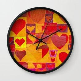 Paper Cutout Hearts Wall Clock