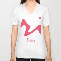 movie poster V-neck T-shirts featuring Drive - Movie Poster by ahutchabove