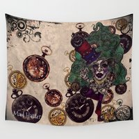 mad hatter Wall Tapestries featuring Gothic Mad Hatter by AKIKO