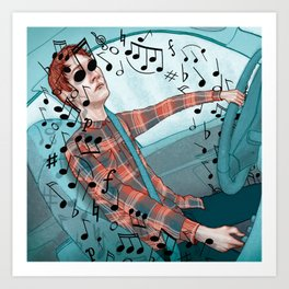 Driving with Music Art Print