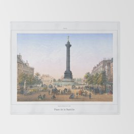 Paris art print Paris Decor office decoration vintage decor PLACE BASTILLE of Paris Throw Blanket