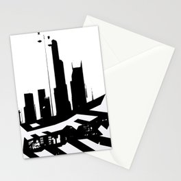 City Scape in Black and White Stationery Cards
