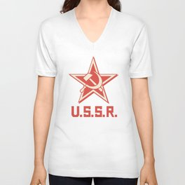 star, crossed hammer and sickle - ussr poster (socialism propaganda) Unisex V-Neck