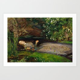 Ophelia from Hamlet Oil Painting by Sir John Everett Millais Art Print