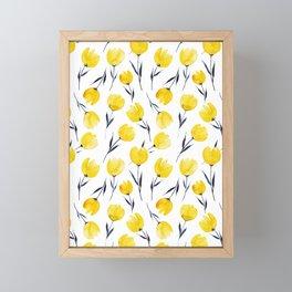 Yellow Tulips   Watercolour Pattern Framed Mini Art Print