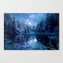 A Cold Winter's Night : Turquoise Teal Blue Winter Wonderland Canvas Print