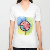transistor V-neck T-shirts featuring Watercolor NPN BJT by EEShirts