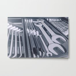 Set of Wrenches inside Toolbox, Keys and Spanners, Box with Set of Tools, Set Mechanical Tools. Metal Print