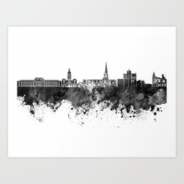 Chesterfield skyline in black watercolor Art Print