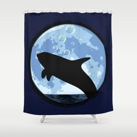 onesie Shower Curtains featuring Dolphin bubbly in the moonlight by kamonkey