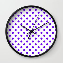 Small Polka Dots - Indigo Violet on White Wall Clock