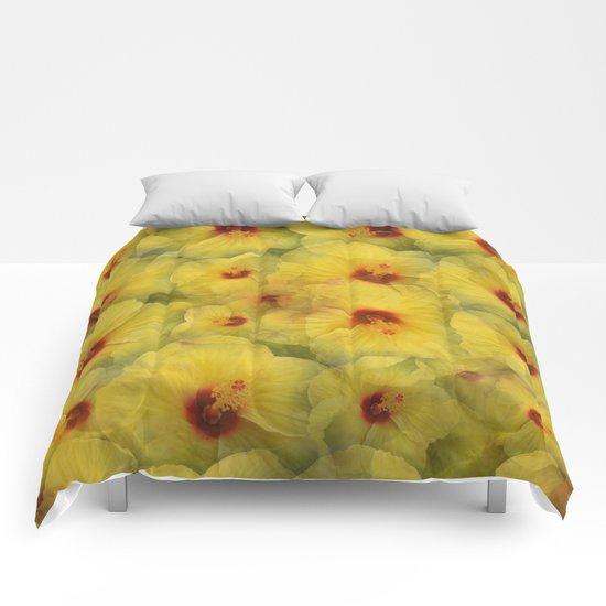 Yellow Hibiscus Comforters
