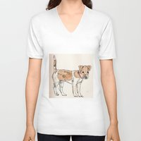 jack russell V-neck T-shirts featuring Jack Russell Terrier by Bryan James