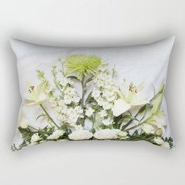 Green and Cream Flowers Rectangular Pillow