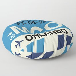 MCO Orlando • Airport Code and Vintage Baggage Tag Design Floor Pillow