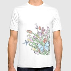 Watercolour, flowers and butterflies  White MEDIUM Mens Fitted Tee