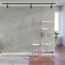 Fancy Scroll Leaves on Pale Green Background Wall Mural